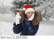 Купить «Красивая девушка в рождественском колпаке с мобильным телефоном в зимнем парке», фото № 2203052, снято 13 января 2010 г. (c) Мельников Дмитрий / Фотобанк Лори