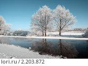 Купить «Зимняя река», фото № 2203872, снято 30 ноября 2010 г. (c) Сергей Яковлев / Фотобанк Лори