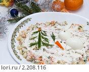 Купить «Новогодний салат оливье, украшенный кроликом», фото № 2208116, снято 10 декабря 2010 г. (c) Макарова Елена / Фотобанк Лори