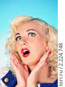 Купить «Портрет молодой блондинки в стиле ретро», фото № 2224748, снято 11 августа 2009 г. (c) Andrejs Pidjass / Фотобанк Лори