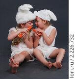 Маленькие дети в костюмах зайчиков. Стоковое фото, фотограф Сергей Салдаев / Фотобанк Лори
