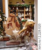 Купить «Украшенная к Новому году витрина магазина», фото № 2228020, снято 27 декабря 2009 г. (c) Maria Kuryleva / Фотобанк Лори
