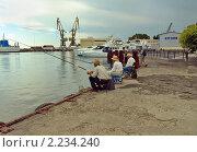 Купить «Рыбаки на причале. Морской порт города Сочи», фото № 2234240, снято 15 июля 2010 г. (c) Самойлова Екатерина / Фотобанк Лори