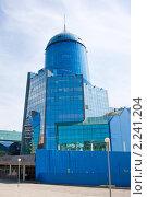 Железнодорожный современный вокзал из голубого стекла, Самара (2009 год). Стоковое фото, фотограф ElenArt / Фотобанк Лори