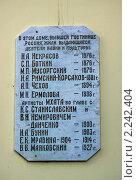 Купить «Ялта. Мемориальная доска на стене гостиницы», фото № 2242404, снято 16 сентября 2010 г. (c) Вячеслав Беляев / Фотобанк Лори
