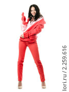 Купить «Девушка в красном костюме», фото № 2259616, снято 3 октября 2009 г. (c) Сергей Сухоруков / Фотобанк Лори