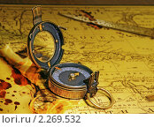 Купить «Старинный компас  Verners Pattern лежит на карте. Verners   Pattern Compass.1918 год.», фото № 2269532, снято 9 января 2011 г. (c) Юрий Кирсанов / Фотобанк Лори