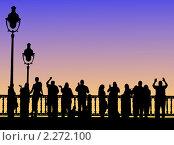Люди на мосту. Стоковая иллюстрация, иллюстратор Irina Ageeva / Фотобанк Лори