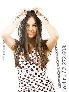 Красивая девушка с цепями. Стоковое фото, фотограф Антон Романов / Фотобанк Лори