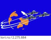 Звено истребителей палубной авиации. Стоковая иллюстрация, иллюстратор Сергей Скрыль / Фотобанк Лори