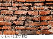 Купить «Текстура древней стены из красного обожженного кирпича», фото № 2277192, снято 18 декабря 2010 г. (c) Николай Винокуров / Фотобанк Лори