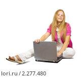 Купить «Девушка с ноутбуком», фото № 2277480, снято 30 августа 2010 г. (c) Яков Филимонов / Фотобанк Лори