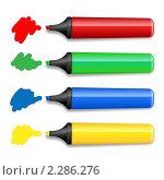 Четыре цветных маркера. Иллюстрация. Стоковая иллюстрация, иллюстратор Сергей Королько / Фотобанк Лори
