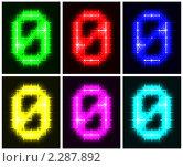 Купить «Набор светящихся цифр на черном фоне. Ноль», иллюстрация № 2287892 (c) Boroda / Фотобанк Лори