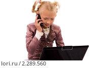 Купить «Девочка смотрит в ноутбук и разговаривает по мобильному телефону», фото № 2289560, снято 26 августа 2010 г. (c) Момотюк Сергей / Фотобанк Лори
