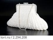 Купить «Театральная сумочка из бисера белого цвета на черном фоне», фото № 2294208, снято 4 июня 2020 г. (c) Андрей Лавренов / Фотобанк Лори