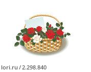 Корзина с розами. Стоковая иллюстрация, иллюстратор Гульнара Магданова / Фотобанк Лори