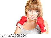 Купить «Девушка в перчатках для кикбоксинга», фото № 2308356, снято 25 января 2011 г. (c) Вера Франц / Фотобанк Лори