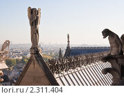 Купить «Вид на Париж с собора  Нотр дам де Пари (Notre dame de Paris). Франция.», фото № 2311404, снято 21 октября 2010 г. (c) Николай Коржов / Фотобанк Лори