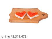 Бутерброды с икрой в виде сердечек. Стоковое фото, фотограф Вадим Карпусь / Фотобанк Лори