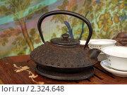 Купить «Китайский чайник с чашками», фото № 2324648, снято 28 июня 2010 г. (c) Павел Савин / Фотобанк Лори