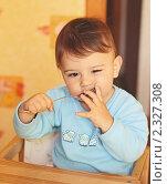 Купить «Годовалый ребенок ест самостоятельно ложкой», эксклюзивное фото № 2327308, снято 8 октября 2010 г. (c) Олеся Сарычева / Фотобанк Лори