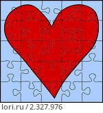 Купить «Пазл с красным сердцем на голубом фоне», иллюстрация № 2327976 (c) Татьяна Васина / Фотобанк Лори