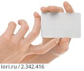 Купить «Женская рука с пустой визиткой на белом фоне», фото № 2342416, снято 15 ноября 2018 г. (c) Buka / Фотобанк Лори