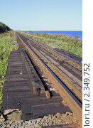 Купить «Железная дорога вдоль побережья Охотского моря, Сахалин», фото № 2349752, снято 14 сентября 2010 г. (c) Пьянков Александр / Фотобанк Лори