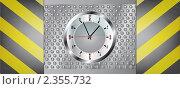 Металлический строительный фон  предостережение с часами. Стоковая иллюстрация, иллюстратор Mihhail Fainstein / Фотобанк Лори
