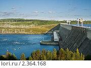 Купить «Усть-Илимская ГЭС», фото № 2364168, снято 14 февраля 2020 г. (c) Швайгерт Екатерина / Фотобанк Лори