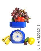 Купить «Фрукты и овощи на весах», фото № 2366348, снято 23 февраля 2011 г. (c) Юлия  Лесина / Фотобанк Лори