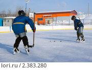 Купить «Хоккейная тренировка у детей», фото № 2383280, снято 27 февраля 2011 г. (c) Игорь Момот / Фотобанк Лори