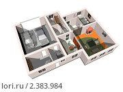 Планировка квартиры 3d. Стоковая иллюстрация, иллюстратор Дудакова / Фотобанк Лори