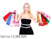 Купить «Шопинг - красивая молодая девушка с покупками в руках», фото № 2388828, снято 6 декабря 2009 г. (c) Андрей Аркуша / Фотобанк Лори