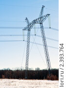 Опора линии электропередач на фоне леса и  голубого неба. Стоковое фото, фотограф Игорь Низов / Фотобанк Лори
