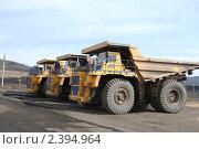 Купить «Гигантские грузовики для перевозки угля», фото № 2394964, снято 2 апреля 2008 г. (c) Александр Подшивалов / Фотобанк Лори