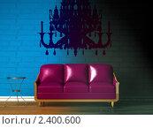 Купить «Интерьер гостиной с фиолетовым диваном и люстрой», иллюстрация № 2400600 (c) Данила Большаков / Фотобанк Лори