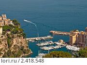Купить «Роскошные яхты и апартаменты в порту Фонтвиель в Монако», фото № 2418548, снято 1 июля 2008 г. (c) Евгений Дробжев / Фотобанк Лори