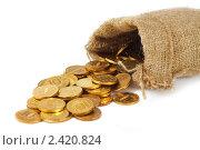 Мешок с золотыми монетами. Стоковое фото, фотограф Сергей Ксенофонтов / Фотобанк Лори