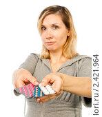Купить «Беременная женщина с  лекарствами», эксклюзивное фото № 2421964, снято 2 сентября 2010 г. (c) Давид Мзареулян / Фотобанк Лори