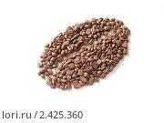 Купить «Зерна кофе, выложенные в форме кофейного зерна на белом фоне», фото № 2425360, снято 21 марта 2011 г. (c) Виктория Фрадкина / Фотобанк Лори