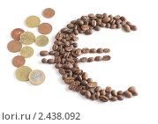 Купить «Символ евро, сложенный из кофейных зерен, и евромелочь на белом фоне», фото № 2438092, снято 30 марта 2011 г. (c) Виктория Фрадкина / Фотобанк Лори