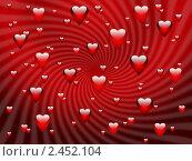 Купить «Романтический красный фон с сердечками», иллюстрация № 2452104 (c) Светлана Ильева (Иванова) / Фотобанк Лори