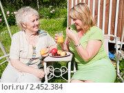 Купить «Пожилая женщина со взрослой дочерью сидят в саду», фото № 2452384, снято 19 июня 2010 г. (c) GANG / Фотобанк Лори