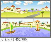 Два плаката с морскими пейзажами. Стоковая иллюстрация, иллюстратор Галина Томина / Фотобанк Лори