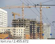 Купить «Москва. Строительство домов на Щелковском шоссе», эксклюзивное фото № 2455672, снято 8 апреля 2010 г. (c) lana1501 / Фотобанк Лори