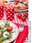 Купить «Итальянская кухня - пицца и салат», фото № 2466224, снято 8 апреля 2011 г. (c) ElenArt / Фотобанк Лори