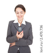 Купить «Портрет деловой женщины с мобильным телефоном», фото № 2470736, снято 26 февраля 2011 г. (c) Алексей Сергеев / Фотобанк Лори