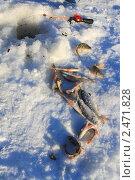 Купить «Улов, удочка и лунка во льду», эксклюзивное фото № 2471828, снято 15 января 2011 г. (c) Анатолий Матвейчук / Фотобанк Лори